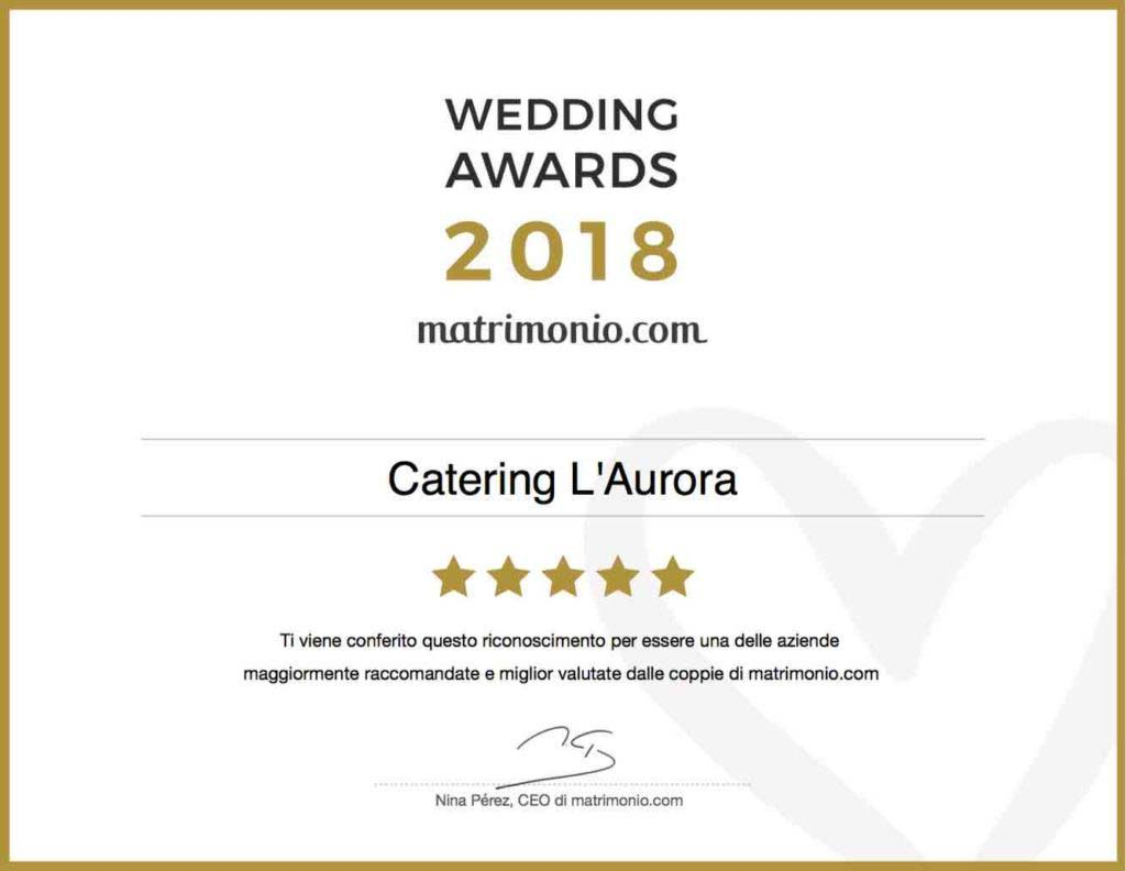 certificato wedding awards 2018