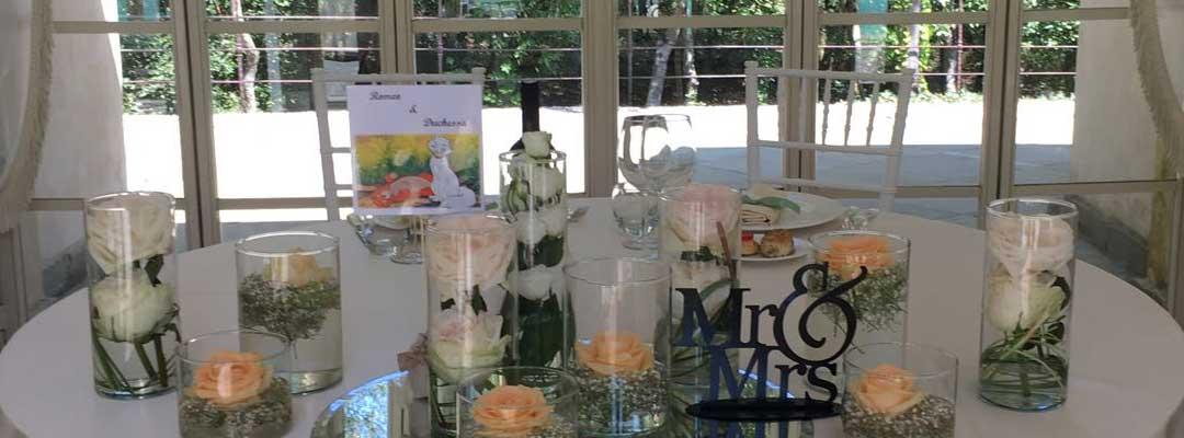 tavolo allestito per matrimonio da Aurora Catering